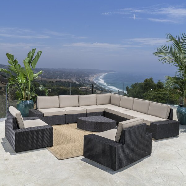 Mountview 10 Piece Rattan Sectional Seating Group with Cushions by Wade Logan