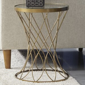 Osbourne Concave Round Metal End Table with Glass Top by Mercer41