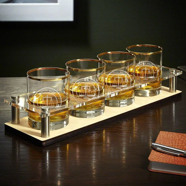 Bayly Scales of Justice Gold Rim 5 Piece Cocktail Glass Set (Set of 5) by Canora Grey