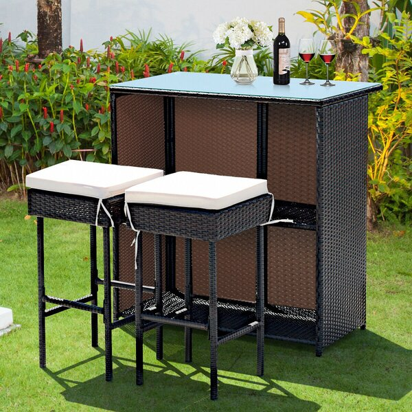 Daveigh 3 Piece Bar Height Dining Set with Cushions by Latitude Run