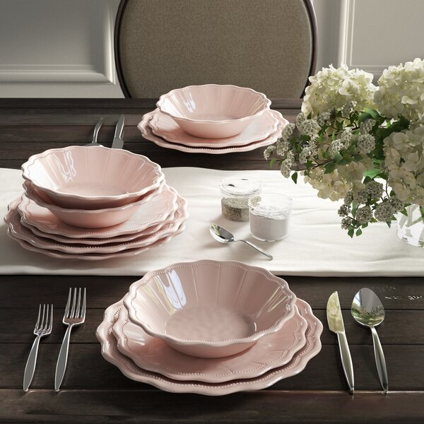 Kaius Pearl Blush 12 Piece Melamine Dinnerware Set, Service for 4 by Ophelia & Co.