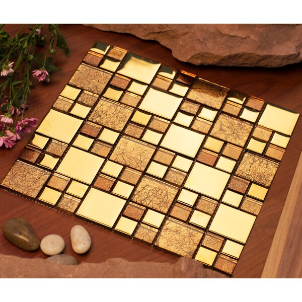 Rousha 12 x 12 Glass Mosaic Tile in Shiny Gold by Mirrella
