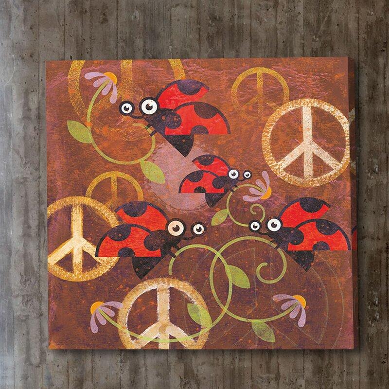 'Peace Sign Ladybugs Vi' by Alan Hopfensperger Painting Print