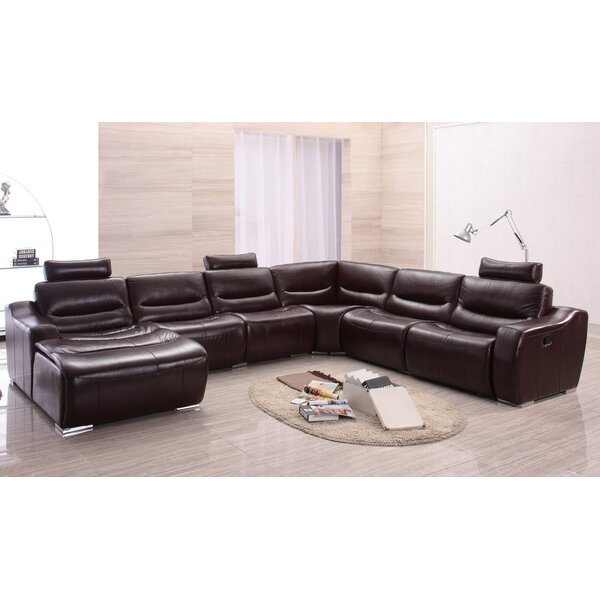 Best #1 Barco Leather Reclining Sectional By Latitude Run Great Reviews
