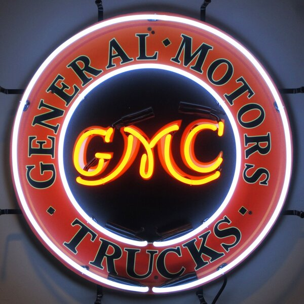 GMC Trucks Neon Sign with Backing by Neonetics