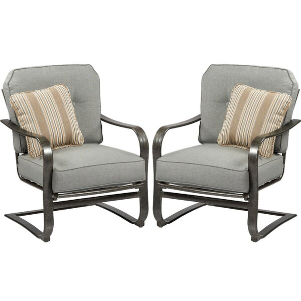 Pinheiro C Spring Patio Chair with Sunbrella Cushion (Set of 2) by Canora Grey Canora Grey
