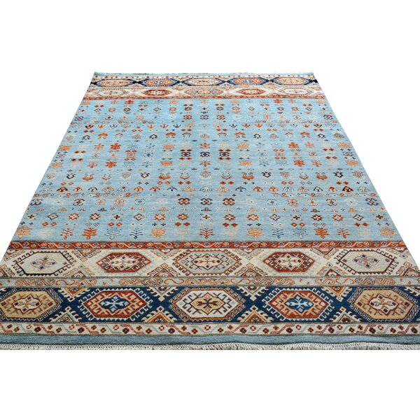 One-of-a-Kind Abraham Hand-Knotted Wool Light Blue/Ivory Area Rug by Isabelline