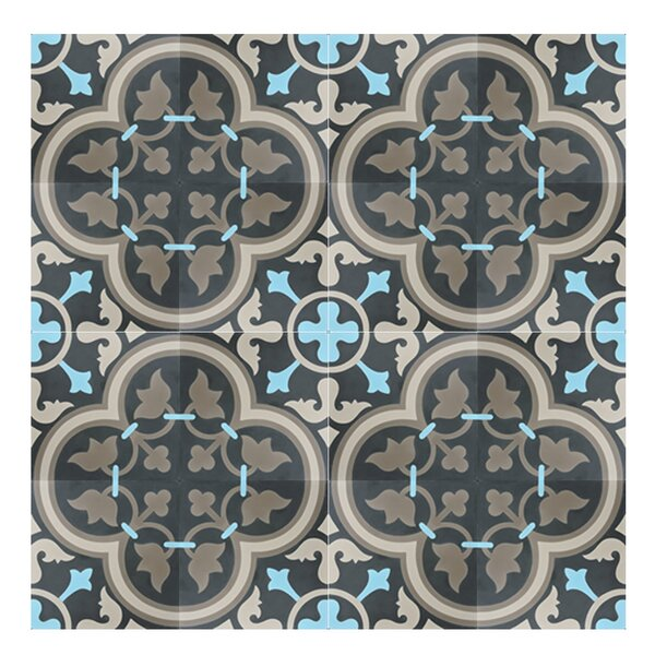 Casa 8 x 8 Cement Tile in Blue/Brown by Moroccan Mosaic