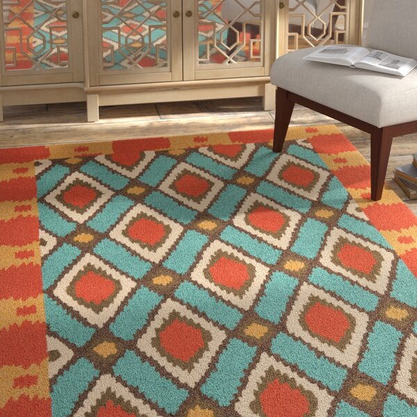 Puri Light Blue/Red Outdoor Area Rug by Bungalow Rose