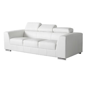 Cesca Leather Sofa. Black Grey White