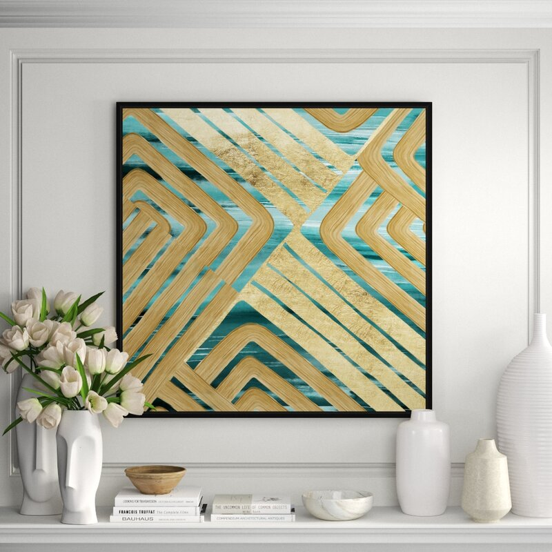 Jbass Grand Gallery Collection Teal And Gold Trace Ii Painting Print On Canvas Perigold