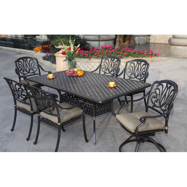 Lebanon 7 Piece Dining Set with Cushions by Three Posts