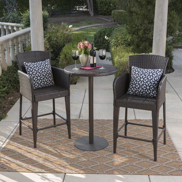 Eaton 3 Piece Bar Height Dining Set by Orren Ellis