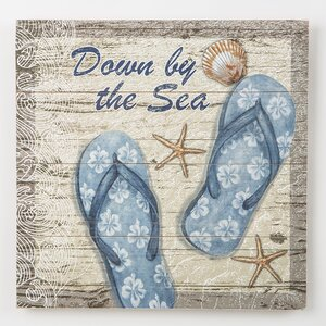 'Down by the Sea, Blue Flip Flops' Graphic Art Print on Wood by Beachcrest Home
