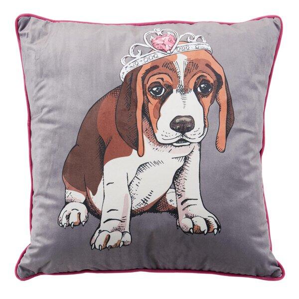 Princess Pup Metallic Throw Pillow by Nicole Miller