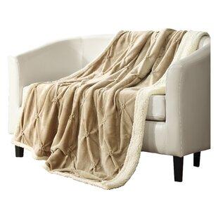 Boneta Pinch Pleated Sherpa Faux Fur Blanket