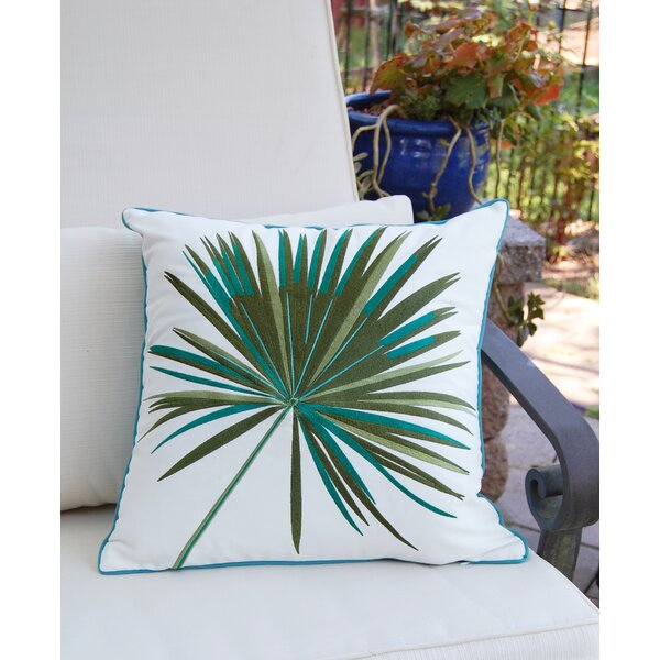 Ja Fan Palm Embroidered Outdoor Pillow by Bayou Breeze