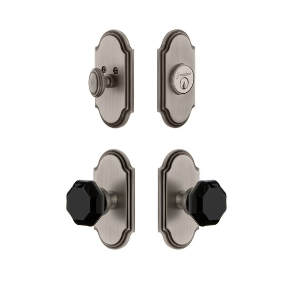 Arc Plate Single Cylinder Knob Combo Pack with Lyon Knob and matching Deadbolt by Grandeur