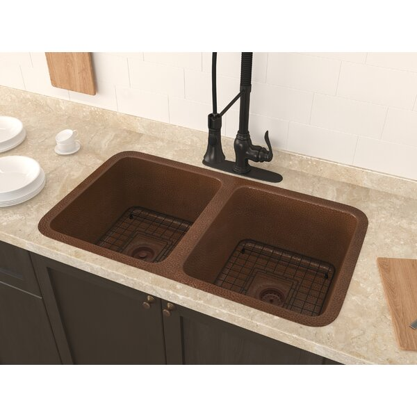 Demonte 32 x 18 Double Basin Undermount Kitchen Sink with Basket Strainer and Basin Grid by ANZZI