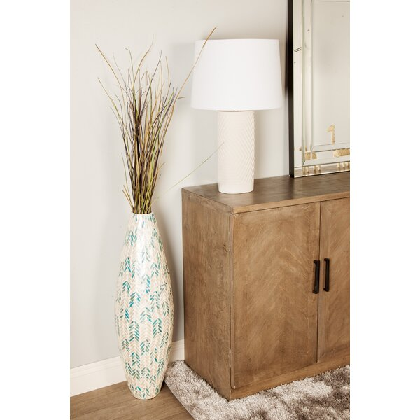 Glendale Heights Modern Shell Inlaid Bamboo Floor Vase by Bungalow Rose