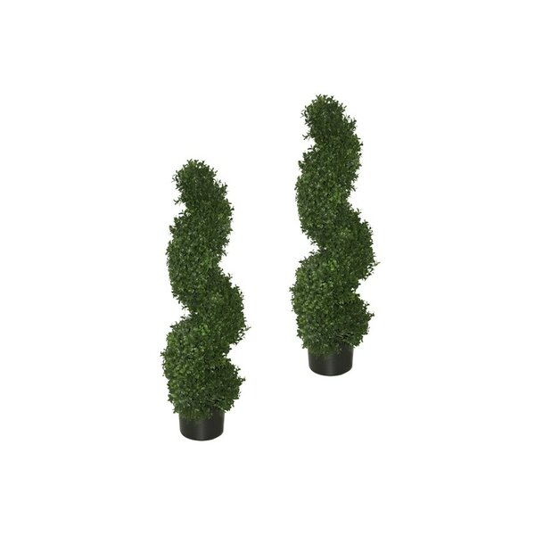 Artificial Lifelike Spiral Topiary Milan Tree with Pot (Set of 2) by Fleur De Lis Living