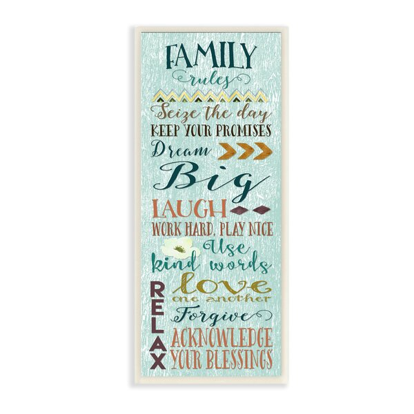 Family Rules Modern Typography Wall Plaque by Stupell Industries