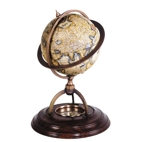Terrestrial Globe with Compass by Three Posts