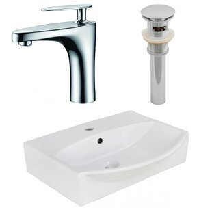 Order Ceramic Rectangular Bathroom Sink with Faucet and Overflow ByAmerican Imaginations
