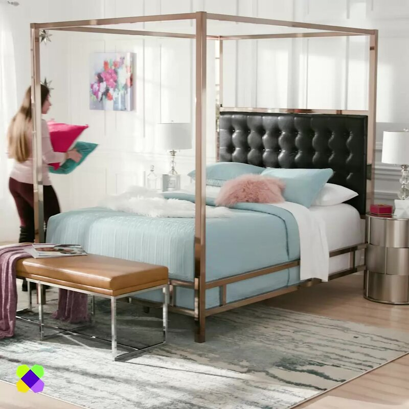 mcmeans upholstered canopy bed