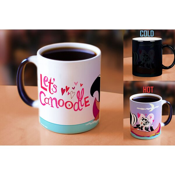 Looney Tunes Pepe Le Pew Lets Canoodle Valentines Day Heat Reveal Ceramic Coffee Mug by Morphing Mugs