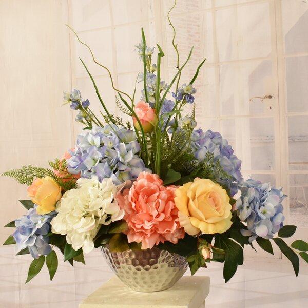 Silk Hydrangea and Peonies Floral Arrangement in Decorative Vase by Rosdorf Park