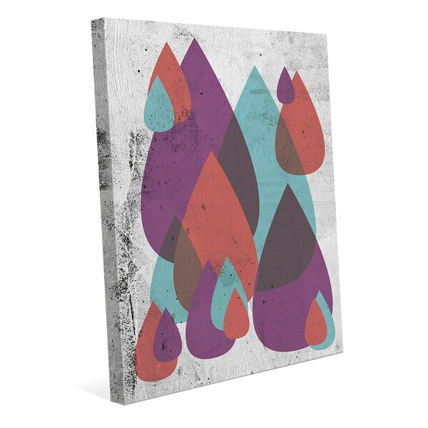 Retro Drops Purple Graphic Art on Wrapped Canvas by Click Wall Art