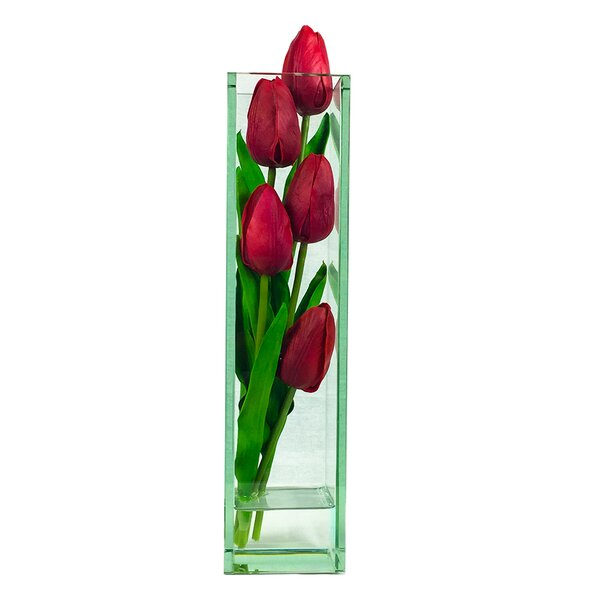 Tulips Square Floral Arrangement in Vase by August Grove