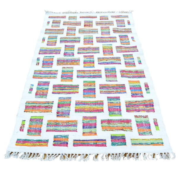 Recycled Clothes Kilim Hand-Knotted Beige Area Rug by Bungalow Rose
