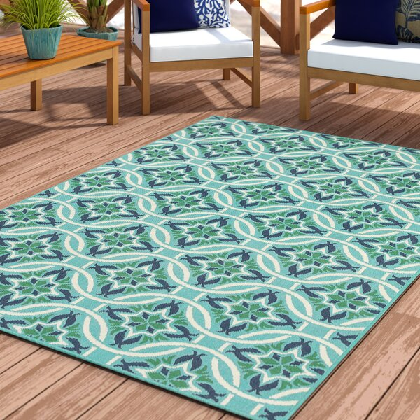 Kailani Contemporary Geometric Blue/Green Indoor/Outdoor Area Rug By Beachcrest Home
