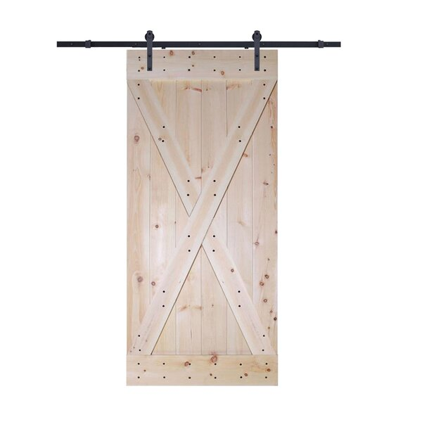 Solid Wood Panelled Slab Interior Barn Door by TMS