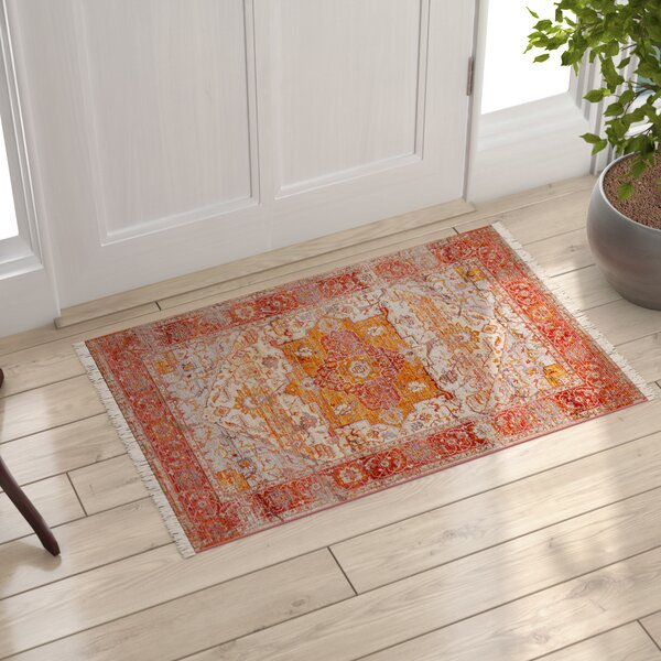 Mendelsohn Vintage Persian Red/Orange Area Rug by Three Posts