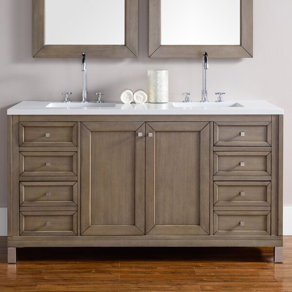 Valladares 60 Double Ceramic Sink White Washed Walnut Bathroom Vanity Set by Brayden Studio