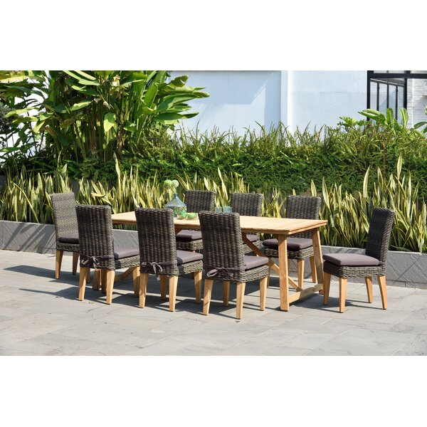 Darrah 9 Piece Teak Dining Set with Cushions by Brayden Studio