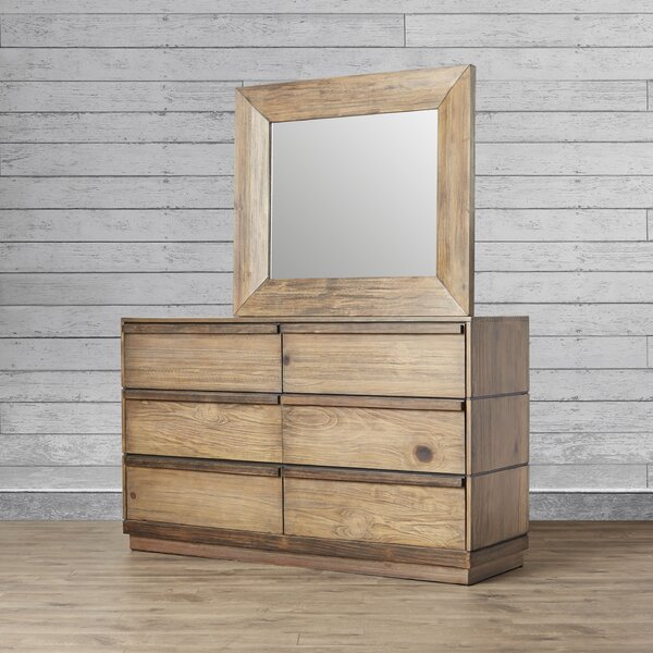 Elliston 6 Drawer Double Dresser with Mirror by Loon Peak