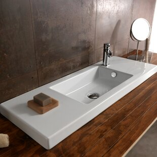 Compare Serie 35 Ceramic Rectangular Drop-In Bathroom Sink with Overflow By Ceramica Tecla by Nameeks