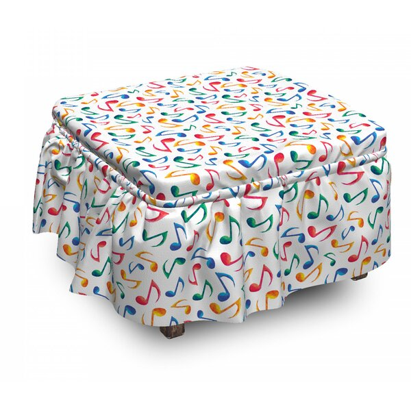 Music Notes 2 Piece Box Cushion Ottoman Slipcover Set By East Urban Home