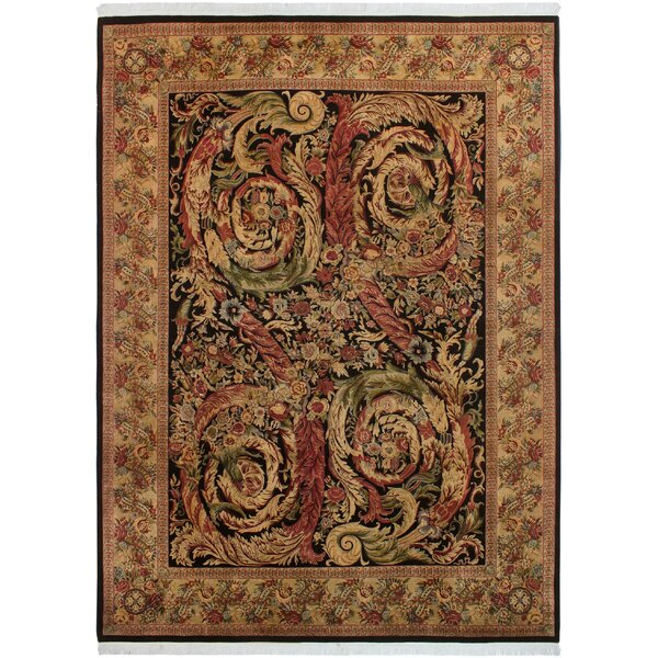One-of-a-Kind Aaru Hand-Knotted Wool Black/Tan Area Rug by Isabelline