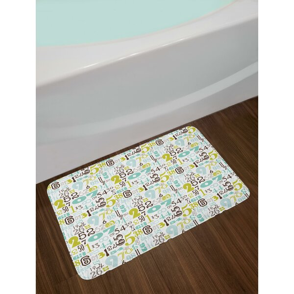 Typography Pattern Colorful Numerical Design Vintage Educational Abstract Figures Bath Rug by East Urban Home