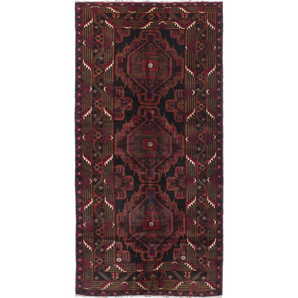 One-of-a-Kind Ingham Hand-Knotted Black/Red Area Rug by Bloomsbury Market