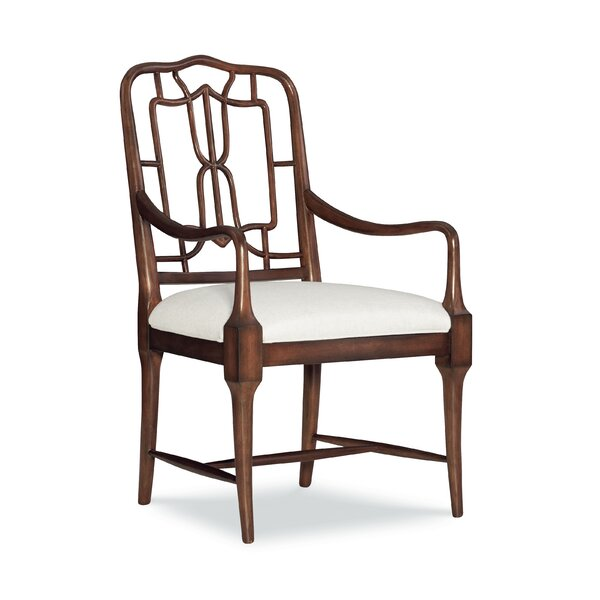 Serenity Fretwork back Arm Chair in Rich Brown (Set of 2) by Fine Furniture Design Fine Furniture Design