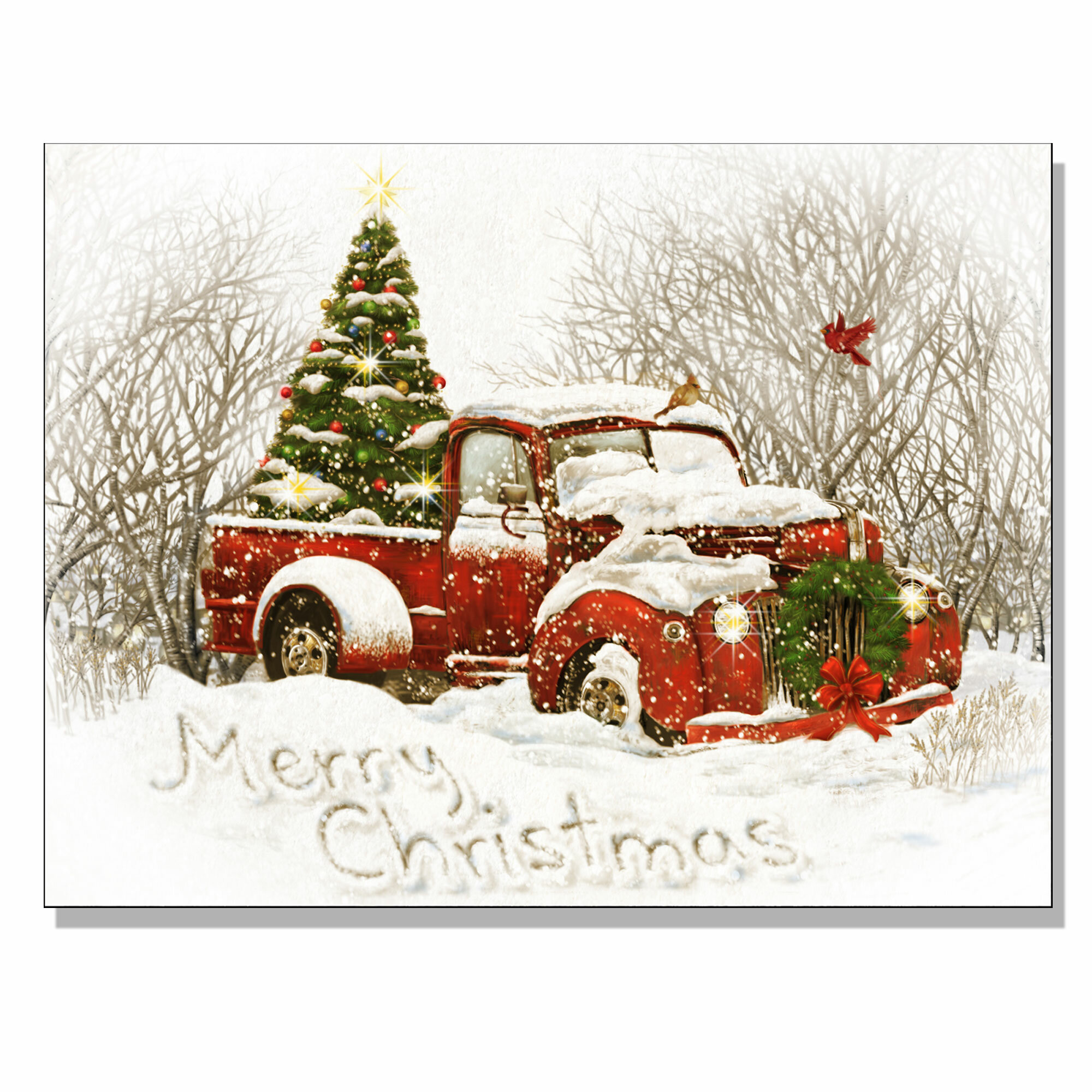 Old Truck With Christmas Tree Painting.Vintage Red Truck Decor Wayfair