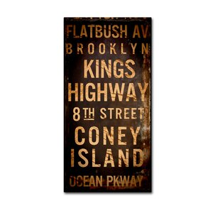 'Brooklyn I' by Color Bakery Textual Art on Wrapped Canvas by Trademark Fine Art