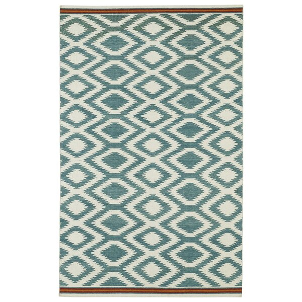 Marble Falls Geometric Turquoise Area Rug by Wrought Studio