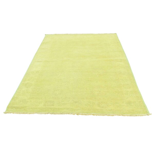 One-of-a-Kind Keeso Cast Overdyed Hand-Knotted Yellow Area Rug by Bungalow Rose